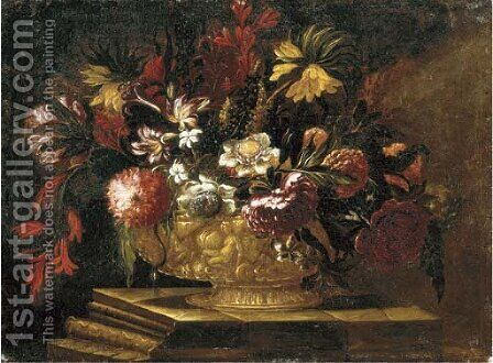 Flowers in a decorative gold vase on a stone plinth by (after) Giuseppe Recco - Reproduction Oil Painting