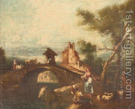 A river landscape with a herdsman resting near a bridge, a fortress beyond by (after) Giuseppe Zais - Reproduction Oil Painting