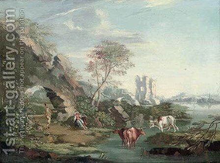 A river landscape with drovers and their cattle resting by an arch by (after) Giuseppe Zais - Reproduction Oil Painting