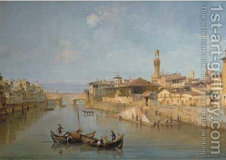 Florence with the Ponte Vecchio and the Uffizi by (after) Giuseppe Zocchi - Reproduction Oil Painting