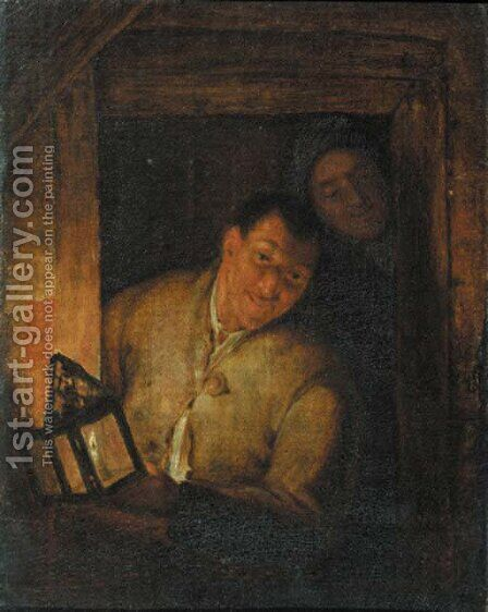 Boors at a window by candlelight by (after) Godfried Schalcken - Reproduction Oil Painting