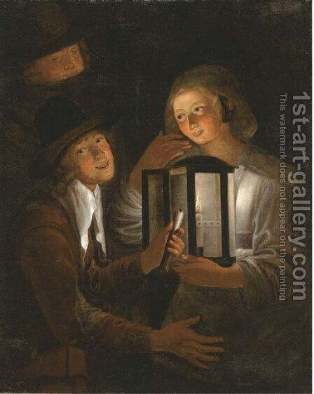Merrymaking by lamplight by (after) Godfried Schalcken - Reproduction Oil Painting