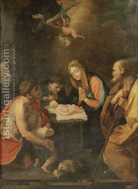 The Adoration of the Shepherds by (after) Guido Reni - Reproduction Oil Painting