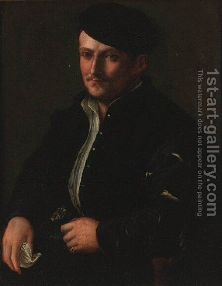 Portrait of a man, seated small-half-length, in a black coat and cap by (after) Holbein the Younger, Hans - Reproduction Oil Painting