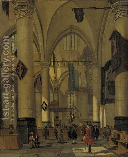 A view in a Gothic Church with elegant townsfolk by (after) Hendrick Van Vliet - Reproduction Oil Painting