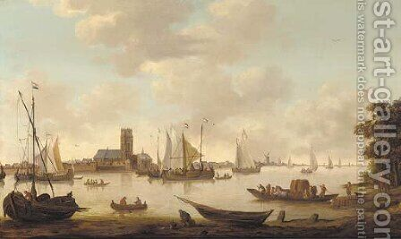 View of Dordrecht from the river Maas by (after) Hendrik De Meyer - Reproduction Oil Painting