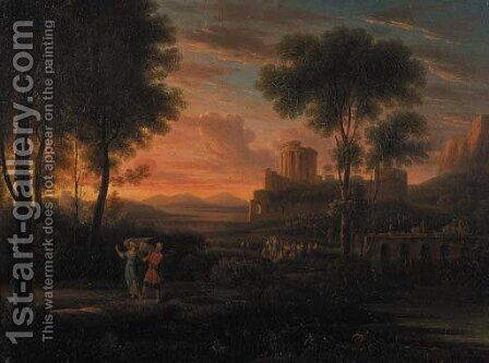 Tobias and the Angel in an Italianate landscape by Hendrik Frans van Lint (Studio Lo) - Reproduction Oil Painting