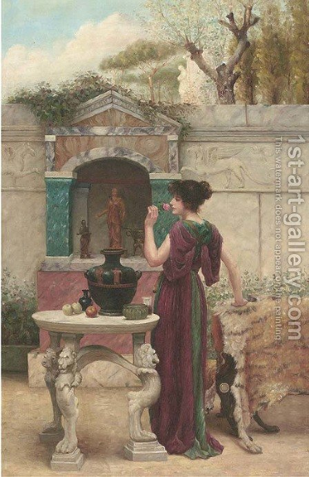 The scent of a rose by Henry Ryland - Reproduction Oil Painting