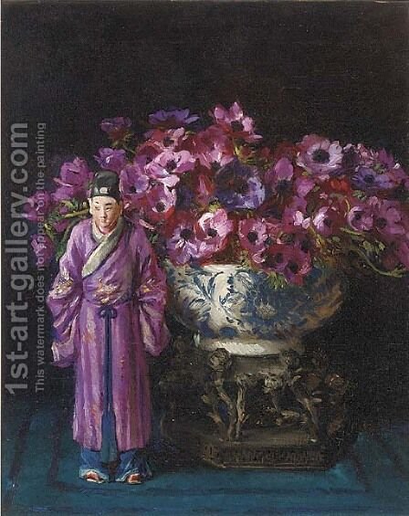 An Oriental figurine before a vase of anemones by David the Elder Richter - Reproduction Oil Painting