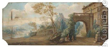 A capriccio of classical ruins near a river with gentlemen conversing by (after) Hubert Robert - Reproduction Oil Painting