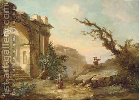 A rocky mountain landscape with figures near a classical arch by (after) Hubert Robert - Reproduction Oil Painting