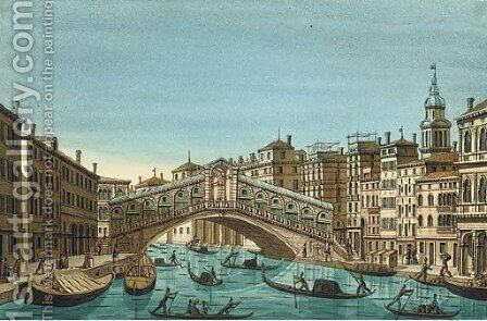 Venice The Rialto Bridge by Ippolito Caffi - Reproduction Oil Painting