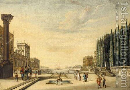 A capriccio with figures crossing a piazza by Jacobus Saeys - Reproduction Oil Painting