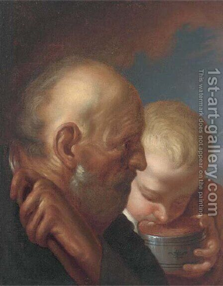 A man and a boy drinking from a bowl by (after) Jacob Jordaens - Reproduction Oil Painting