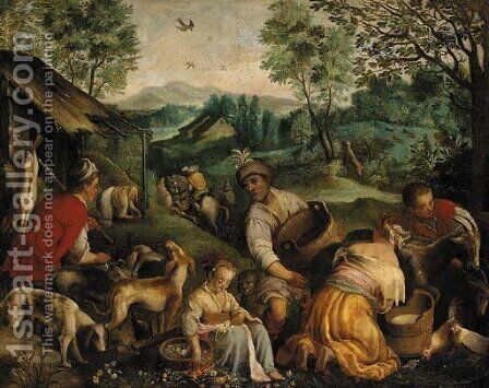 Country pursuits by Jacopo Bassano (Jacopo da Ponte) - Reproduction Oil Painting