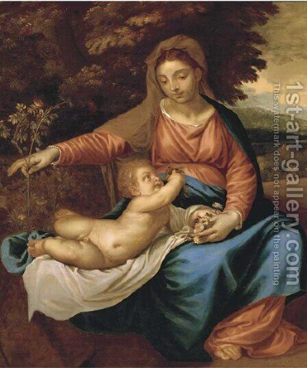 The Madonna and Child by Jacopo d'Antonio Negretti (see Palma Vecchio) - Reproduction Oil Painting