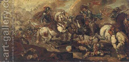 A cavalry battle before a castle by (after) Jacques (Le Bourguignon) Courtois - Reproduction Oil Painting