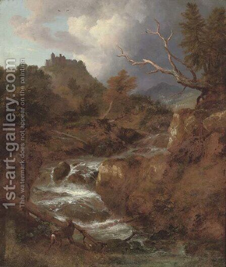 A mountainous wooded river landscape with a stag by a waterfall, Bentheim Castle beyond by Jacob Van Ruisdael - Reproduction Oil Painting