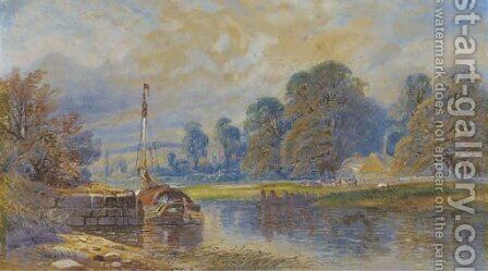 A barge moored on a river, with cattle grazing before a hamlet beyond by (after) James Burrell Smith - Reproduction Oil Painting