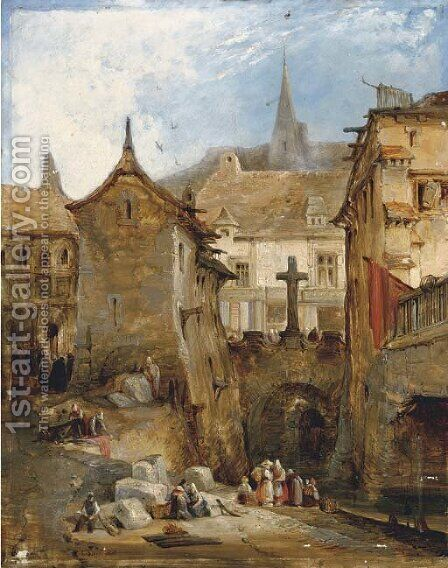 Figures at a canal in a Continental town by (after) James Holland - Reproduction Oil Painting