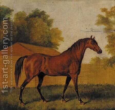 A bay racehorse in a landscape by (after) James Ward - Reproduction Oil Painting