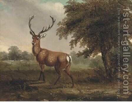A stag in a landscape by (after) James Ward - Reproduction Oil Painting