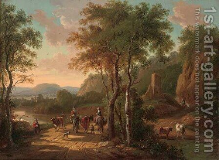 A mountainous landscape with travellers on a track by a river by (after) Jan Both - Reproduction Oil Painting
