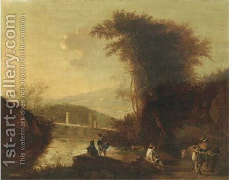 A mountainous river landscape with herdsmen and travellers on a path near a bridge by (after) Jan Both - Reproduction Oil Painting