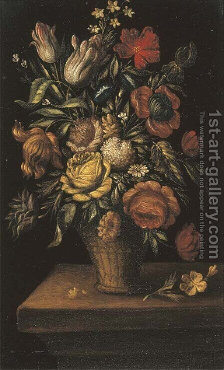 Tulips, roses, and other flowers in a basket on a ledge by (after) Jan The Elder Brueghel - Reproduction Oil Painting
