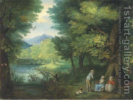 A wooded landscape with travellers at rest by a river by (after) Jan, The Younger Brueghel - Reproduction Oil Painting