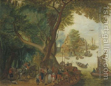 A river landscape with elegant figures, a village and sailing boats in the distance by Jan The Elder Brueghel - Reproduction Oil Painting