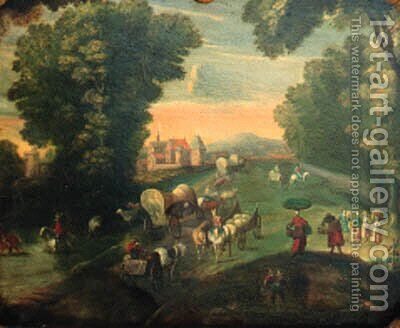 Peasants and travellers on a road by a fortified mansion by Jan The Elder Brueghel - Reproduction Oil Painting