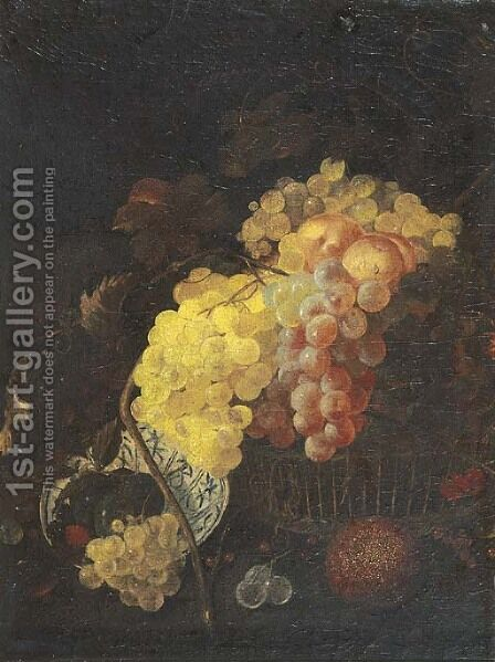 Grapes, peaches and cherries in a basket by (after) Jan Davidsz De Heem - Reproduction Oil Painting