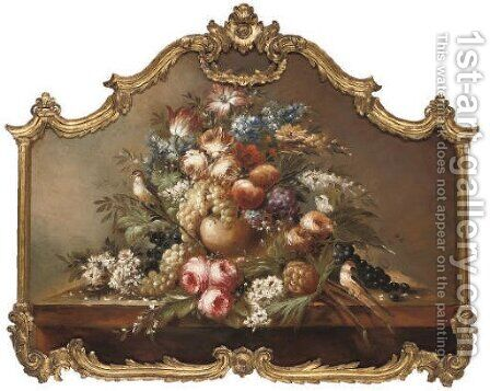 Summer flowers, grapes, apples, a pineapple and songbirds, on a stone ledge by (after) Jan Davidsz De Heem - Reproduction Oil Painting