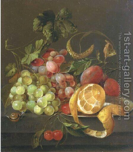A partly peeled orange on a pewter platter with grapes, plums, cherries and a snail, on a stone ledge by (after) Jan Davidsz. De Heem - Reproduction Oil Painting