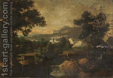 A wooded river landscape with figures on a track, a house beyond by (after) Jan Griffier - Reproduction Oil Painting