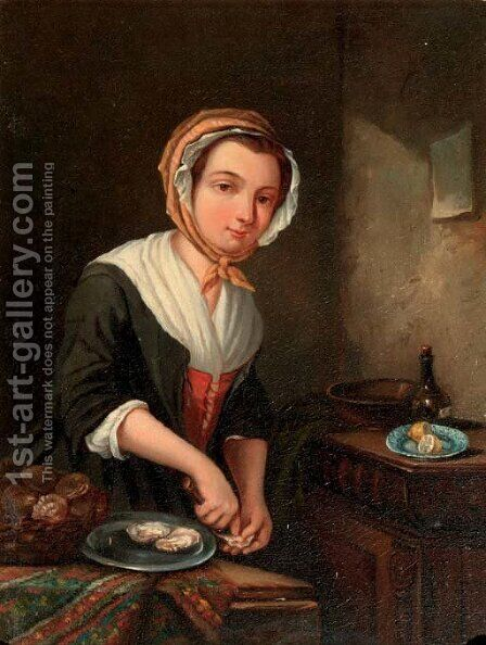 A young girl preparing oysters in an interior by Jan Steen - Reproduction Oil Painting