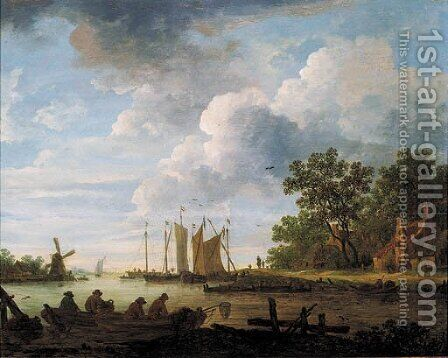 A river landscape on a cloudy day with fishermen with lobsterpots in rowing boats by (after)  Jan Van Goyen - Reproduction Oil Painting