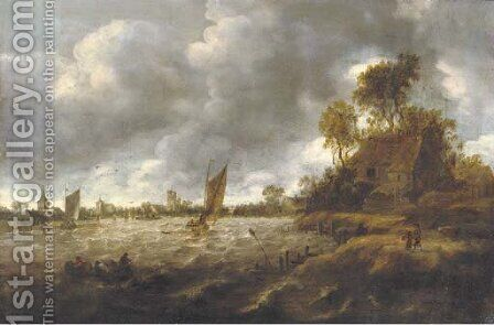 A river landscape with sailing vessels in rough waters, a village beyond by (after)  Jan Van Goyen - Reproduction Oil Painting