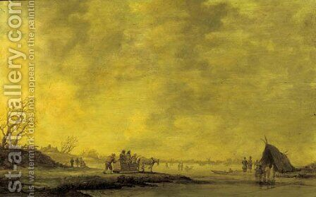 A winterlandscape with villagers on a horsedrawn sledge near a frozen waterway by (after)  Jan Van Goyen - Reproduction Oil Painting