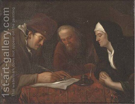 A widow and two gentleman in an interior writing a letter by (after) Jan Steen - Reproduction Oil Painting