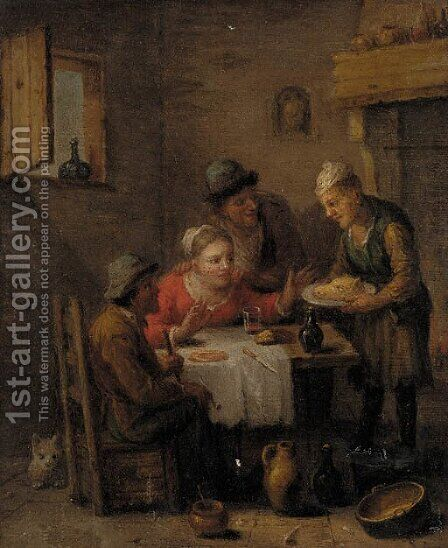 Figures merry-making in a tavern by (after) Jan Steen - Reproduction Oil Painting