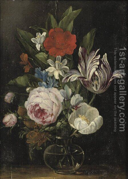 Roses, a tulip and other flowers in a glass vase by Jan van den Hecke - Reproduction Oil Painting