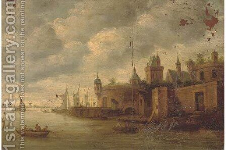 A town on a river with fishermen and other boating by (after) Jan Van Goyen - Reproduction Oil Painting