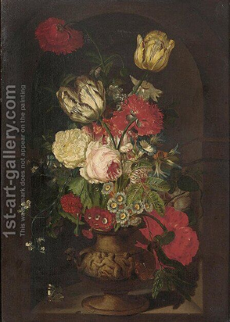 Carnations, tulips, morning glories, a rose and other flowers in a sculpted urn in a casement, with two butterflies by (after) Huysum, Jan van - Reproduction Oil Painting