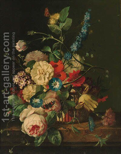 Roses, peonies, morning glory, tulips and other flowers in a basket, with a red admiral and a moth, on a stone plinth by (after) Huysum, Jan van - Reproduction Oil Painting