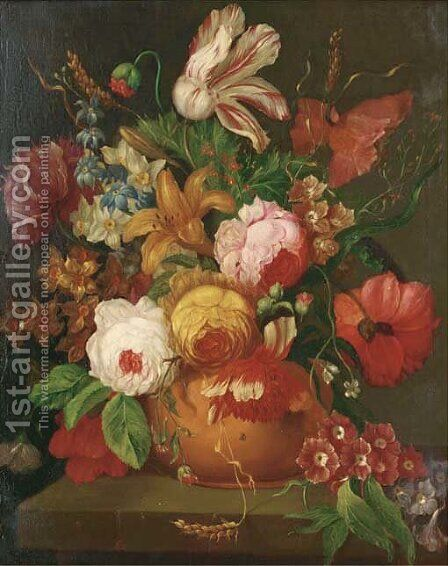 A parrot tulip, roses, narcissi and other flowers in a vase on a stone ledge by (after) Huysum, Jan van - Reproduction Oil Painting
