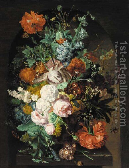 Parrot tulips, roses, poppies, carnations, morning glory, chrysanthemums in an urn on a stone ledge, with a snail, butterflies and other insects by (after) Huysum, Jan van - Reproduction Oil Painting