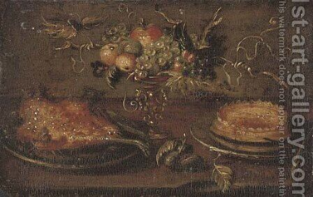 A roast on a platter, a cake, an apple, a pear, peaches and grapes in a tazza on a stone ledge by Jan van Kessel - Reproduction Oil Painting