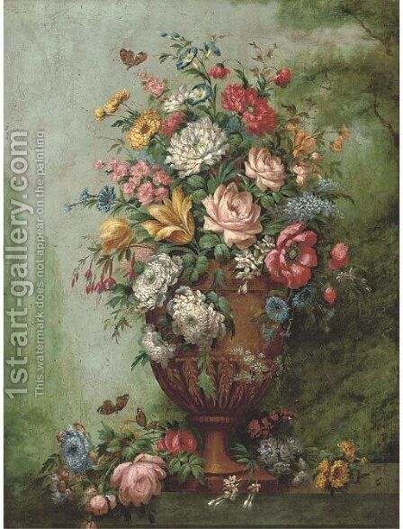 Roses, carnations, poppies, morning glory, chrysanthemums and other flowers in a sculpted urn on a stone ledge by (after) Jan Van Os - Reproduction Oil Painting